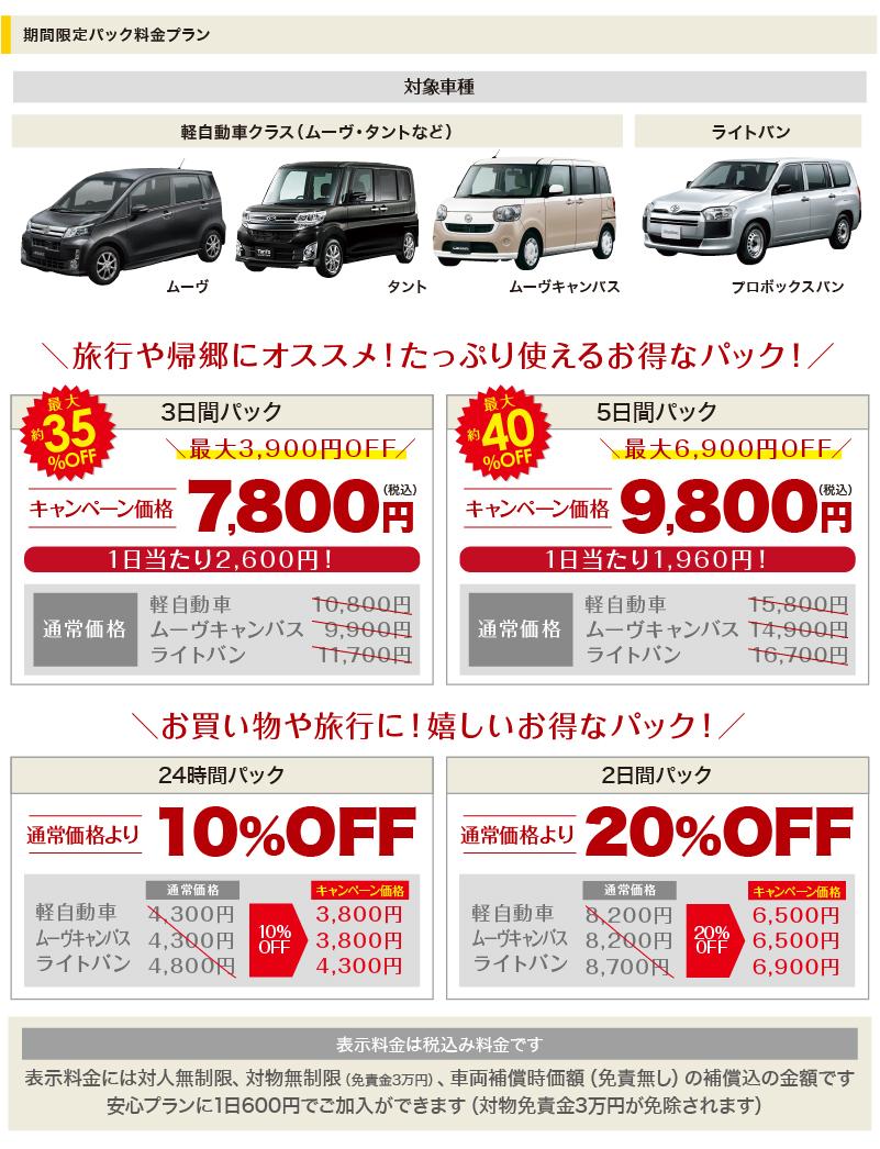 対象車種 ムーヴ・タント・プロボックス 3日間7800円 5日間9800円