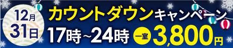 12月31日限定 カウントダウンサービス 17時~24時フリータイム一室3800円