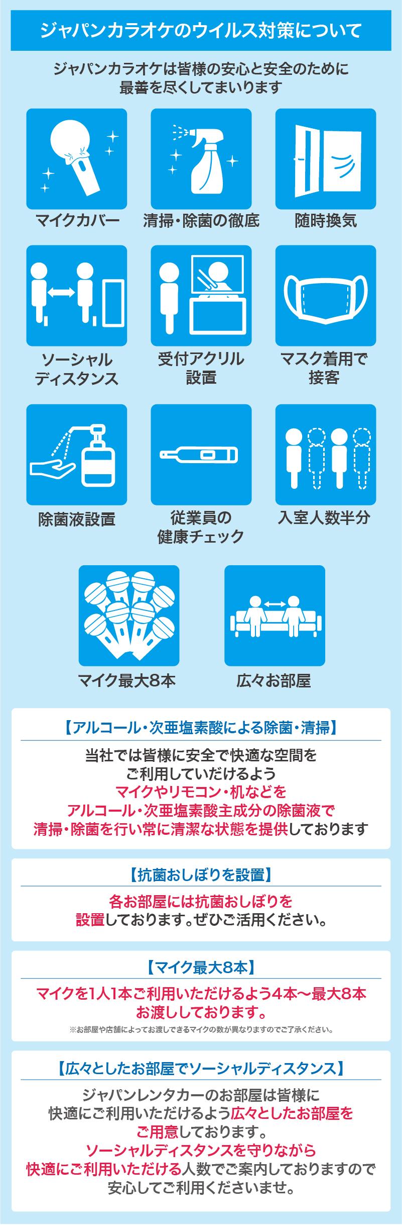ジャパンカラオケのウイルス対策について
